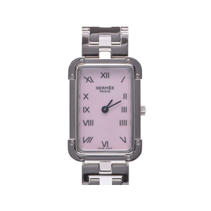 Used Hermes Croazole Pink Shell Directory Ss Kanno Buckle Chest Gala Quartz Wrist Watch Ladies