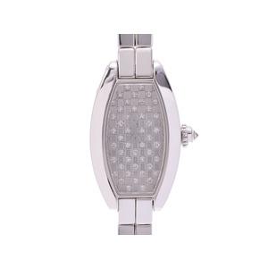 中古 カルティエ ミニトノーラニエール WG ダイヤ文字盤 クオーツ レディース 腕時計 箱 CARTIER