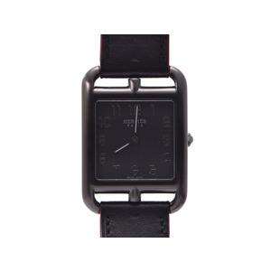 中古 エルメス ケープコットGM ソーブラック CC3.711 SS/革 黒文字盤 X刻印 箱 ギャラ クオーツ レディース 腕時計 HERMES