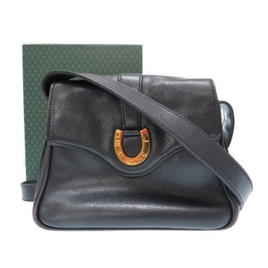 Old Gucci Leather Shoulder Bag Wintage Black 0275