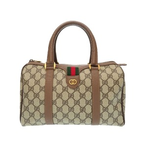 Gucci Old Sherry Vintage Gg Pattern Pvc Brown Handbag Bag 0227