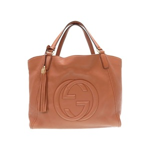 Gucci Leather Soho Interlocking Tote Bag 282309 Brown 0118