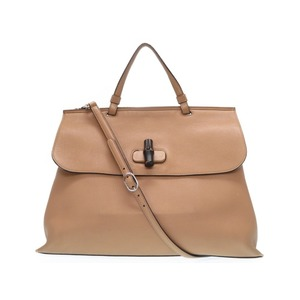 Gucci Bamboo Daily Leather 2way Handbag Shoulder 370830 Beige 0159