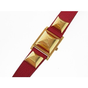 Hermes Meador Quartz Wrist Watch Kushubel Red Gold ○ Y Engraved 0278 Hmes Women's