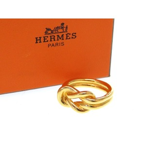 Hermes Attoma Scarf Ring Gold Metal Accessories 0232 Hmes