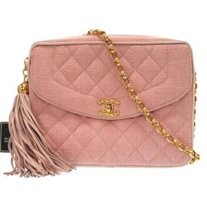 Chanel Fringe Matrasse Vintage Gold Chain Canvas Pink Shoulder Bag As New 0316