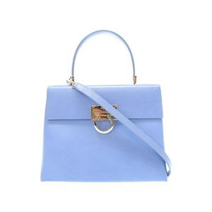 Salvatore Ferragamo Gancini Leather Blue 2 Way Bag Handbag Af - 21 0290 0066 Salvatore Fragamo