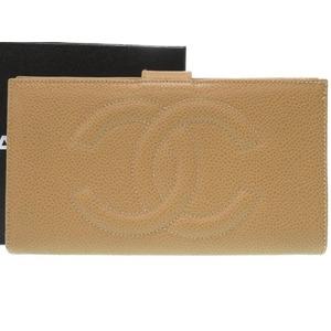 Chanel Caviar Skin Beige Coco Mark 3rd Wallet Purse 0217 As New