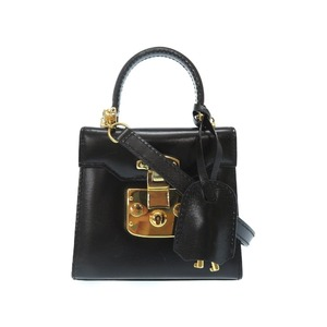 Gucci Lady Rock Vintage Black Leather Gold Hardware 2 Way Bag Shoulder 0070 Gucci