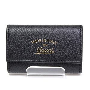 Gucci Swing 6 Consecutive Key Case 354499 Black Calf Leather Unused Item