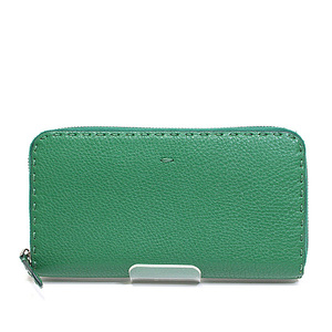 Fendi Celia Round Zipper Long Wallet 7m 0210 Green Unused Item