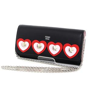 Fendi Chain Wallet Heart Studs Black X Light Pink Leather Silver Bracket Women's 8m0365 Difficulty