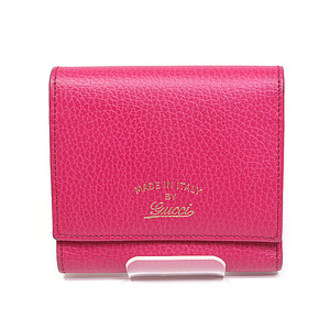 Gucci Swing Leather Tri-fold Wallet 368234 Pink