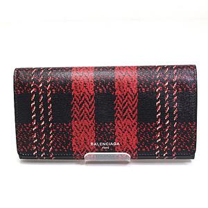 Balenciaga Folded Long Purse 392123 Black × Red Check Pattern As New