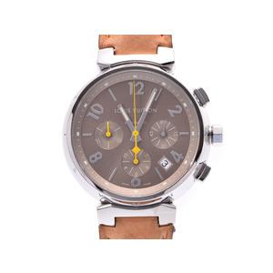 中古 ルイヴィトン タンブール クロノ Q1122 SS 革 内箱 自動巻 メンズ 腕時計 LOUIS VUITTON◇
