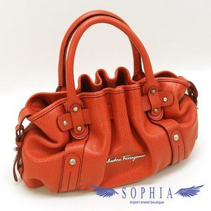 Salvatore Ferragamo Ferragamo Gather Handbag Leather Orange