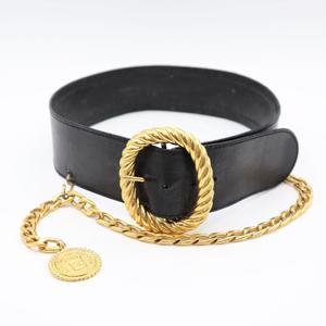 Chanel Women's Leather High Waist Belt Black Chain coin