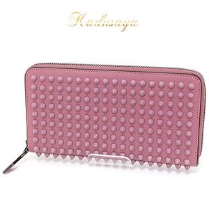 Christian Louboutin Panetone Wallet Spike Studs Round Fastener Long Rosette / (Lavender Pink Type) Calfskin 3135058 Unused Item