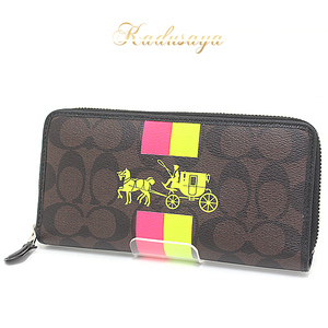 Coach Factory Line Signature Double Stripe Logo Print Round Zipper Long Purse Pvc Coating Canvas Brown System / Neon Pink Yellow F52588