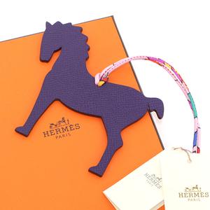 Hermes Bag Charm Petit Ash Pm 1019538 Horse / Hose Leysin (Purple Series) × Orange Beauty Item