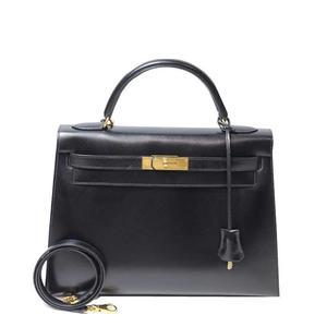 Hermes Kelly 32 Box Calf X Black Gold Hardware Handbag