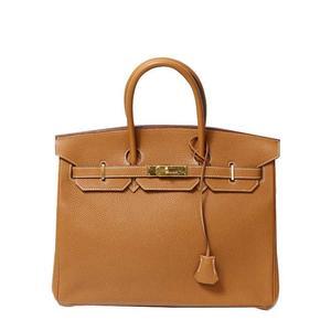 Hermes Birkin 35 Triyon Clemence □ I Gold Bracket Handbag