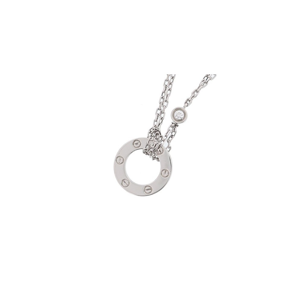 カルティエ(Cartier) ラブ K18ホワイトゴールド(K18WG) ダイヤモンド ブレスレット カラット/0.03 ホワイトゴールド(WG) ロジウムメッキ ラブサークル B6035817