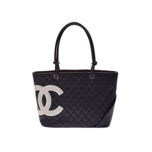 Used Chanel Cambon Line Large Tote Bag Lambskin Black X White ◇