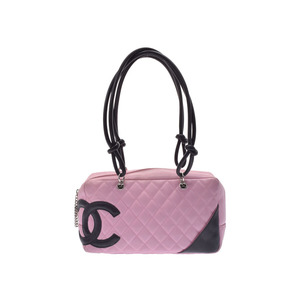 Used Chanel Cambonline Bowling Bag Pink / Black ◇