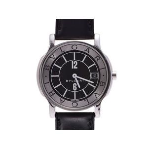 中古 ブルガリ ソロテンポ35 ST35S SS/革 黒文字盤 クオーツ腕時計 内箱 ギャラ メンズ BVLGARI
