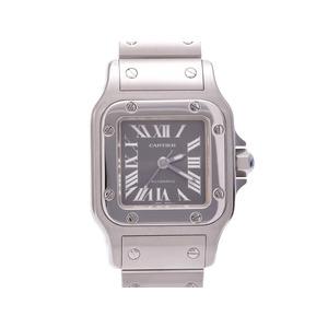 中古 カルティエ サントスガルベSM SS アジア限定モデル グレー文字盤 自動巻 レディース 腕時計 CARTIER