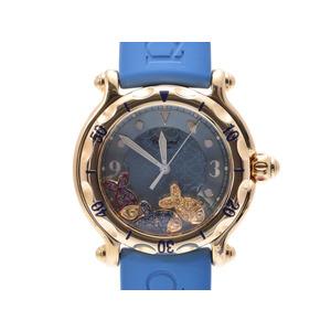 中古 ショパール ハッピースポーツ YG/ラバー 28/3528-402 クオーツ 箱 ギャラ レディース 腕時計 CHOPARD