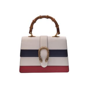 Gucci Women's Bamboo,Leather Handbag Navy,Red,White