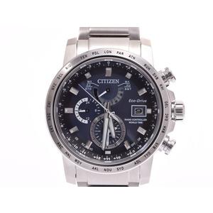 中古 シチズン エコドライブ ワールドタイム AT9070-51L SS 箱 電波腕時計 未使用 CITIZEN