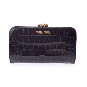 ミュウ・ミュウ(Miu Miu) 中古 ミュウミュウ がま口財布 クロコ型押し 黒 MIUMIU