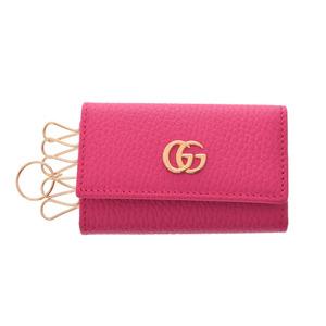 グッチ(Gucci) 中古 グッチ GGマーモント 6連キーケース レザー ピンク G金具 箱 未使用 GUCCI