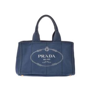 プラダ(Prada) 中古 プラダ カナパ トートバッグ キャンバス 青 PRADA