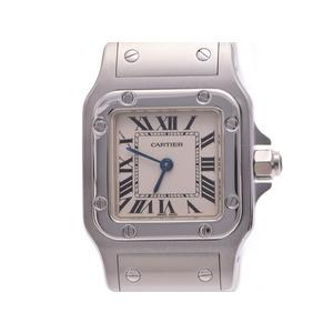 中古 カルティエ サントス ガルベSM SS 白文字盤 クオーツ レディース 腕時計 CARTIER