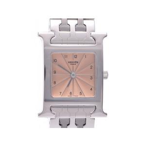 中古 エルメス ラムシスHH1.210 ピンク文字盤 SS クオーツ レディース 腕時計 HERMES