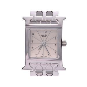中古 エルメス ラムシス HH1.210 SS 白文字盤 クオーツ レディース 腕時計 HERMES