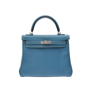 Hermes Kelly Women's Swift Leather Handbag Blue,Blue Jean