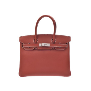 Hermes Birkin Women's Epsom Leather Handbag Brown,Brique,White