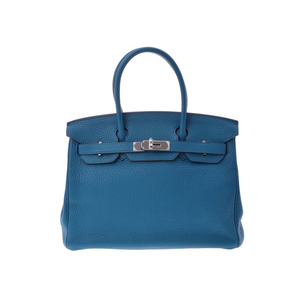 Hermes Birkin Women's Taurillon Clemence Leather Handbag Blue,Turquoise Blue