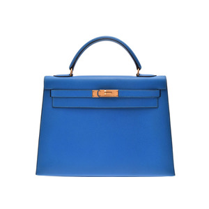 Hermes Kelly Women's Courchevel Leather Handbag Blue