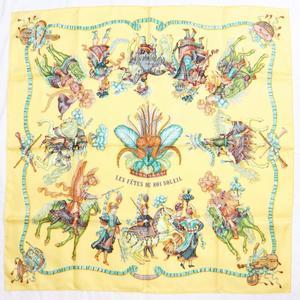 Hermes Women's Silk Scarf Yellow LES FETES DU ROI SOLEIL 太陽王の祝典