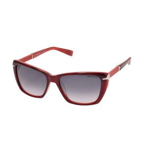 新品 トラサルディ サングラス TR12863 RE 赤 レザーテンプル ケース メンズ レディース TRUSSARDI◇