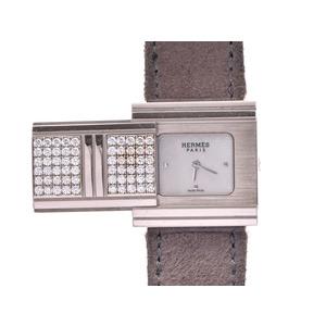 中古 エルメス グリザード GL1.286 WG/革 白シェル文字盤 純正ダイヤケース クオーツ 腕時計 レディース HERMES◇