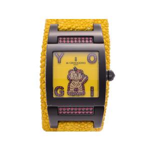 中古 ドゥグリソゴノ バングルウォッチ 黄文字盤 虎 ガルーシャ 色石 クオーツ腕時計 de GRISOGONO◇