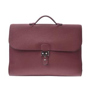 Hermes Sac A Depeche Men's Togo Leather Bag Rouge H