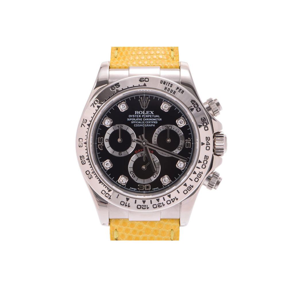 中古 ロレックス デイトナ116519G F番 SS/革 黒文字盤 8Pダイヤ 自動巻 メンズ 腕時計 ROLEX◇